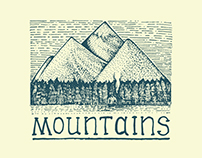 Mountains engraved illustration