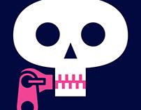 Skull with zip