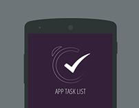 App task list Login screen