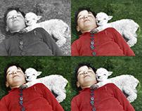 A Boy & A Sheep (Colorized)