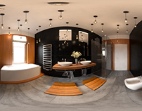 3D Interior project - Bamboo bathroom 360 panoram