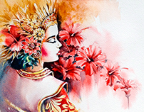 Bali's dancer in watercolor