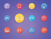 Transport - Vehicle and Auto Services Flat Line Icons