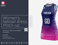 Women's Netball Dress Mockup V1