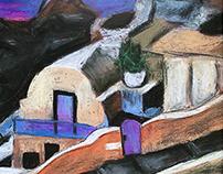 Art painting with pastels. Fira Santoirini