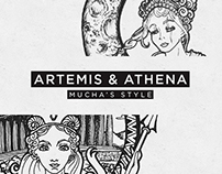 Artemis & Athena - Mucha's style
