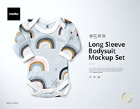 Baby Long Sleeve Bodysuit Mockup Set