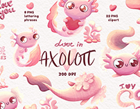 Digital Watercolour Pink Axolotls clipart & lettering