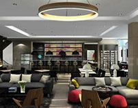 Glamorous Living 3D Hotel Bar Interior Design View