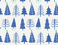 Blue Christmas Trees / Gift Wrap and Card Design