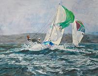 Sailing off the coast of England