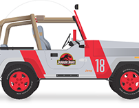 Jurassic Park Jeep Illustration