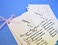 Wedding invitation with a laser incision