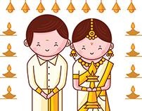 Kerala Wedding Invitation - Cute Couple Collection