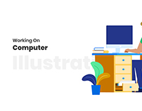 Working on Computer (Illustration)