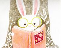 Little bunny reading