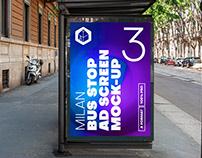 Milan Bus Stop Advertising Screen Mock-Ups 8 (v6)