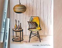 Sketching of furniture, Скетч мебели