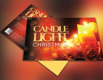 Christmas Candle Light Postcard Template