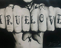 """True Love"" pintura en directo, Charcoal drawing."