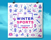 Winter Sport Illustrations Mega Bundle! Vector Icons, B
