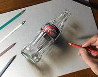 Drawing Coca Cola Zero empty bottle