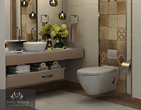 gold and white bathroom design