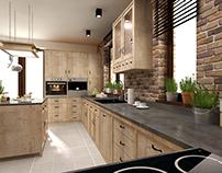 kitchen interior design ~ rustic style
