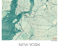 New York, US Blue vintage watercolor map poster