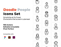 Doodle People Icons Set