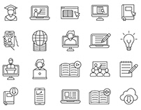 20 E-learning Vector Icons