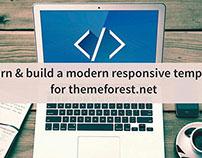 Build a modern flat responsive website for themeforest