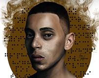 Freckled Man Portrait Illustration