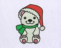Cute Christmas Teddy Bear Embroidery Design