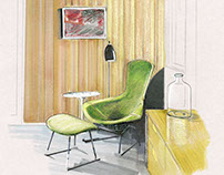 Marker and Colored Pencil Drawing: Reading Nook