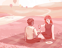 Illustration: Picnic Date at the Balloon Festival