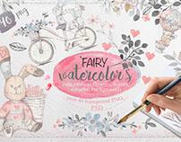 Fairy watercolors illustrations