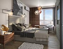 Visualization of bedroom for men. (2016)