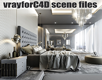 VRayforC4D Scene files - Modern Classic Bedroom Scene