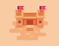 Flat Design Building for Game