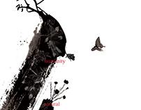 現代書法藝術  人文艺术与自然主题毕业海报设计