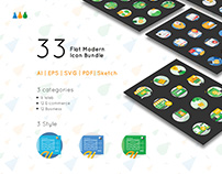 33 Flat Modern Icon Bundle