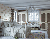 Design of bedrooms in the style of provance