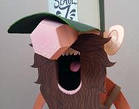 Bearded Banjoist Papertoy