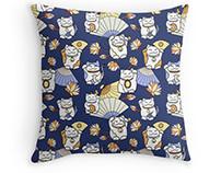 Maneki Neko series: oriental seamless patterns