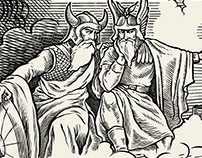 Fenrir and Thor wine label illustration