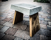 Concrete and English oak stool