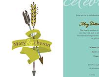 Wedding Invitation - Arrow and ribbon