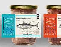 CarneDiMare, label design for fish in the jar