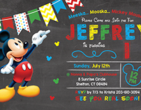 Mikey Themed 1st Birthday Party Invitation